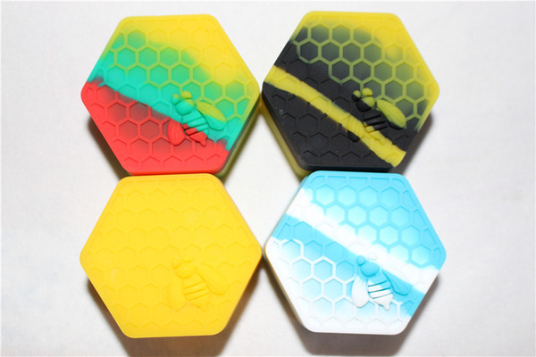 Nonstick wax containers 26ml hexagon honey silicone container food grade jars dab tool storage jar oil holder for vaporizer vape