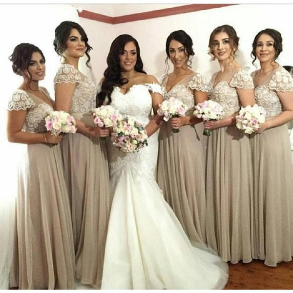 Champagne Bridesmaid Gowns 2018 Appliqued