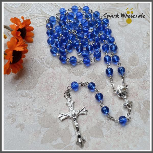 Free Shipping 6mm blue glass beads rosary necklace chalice centerpiece religious gifts cross pendant glass rosario