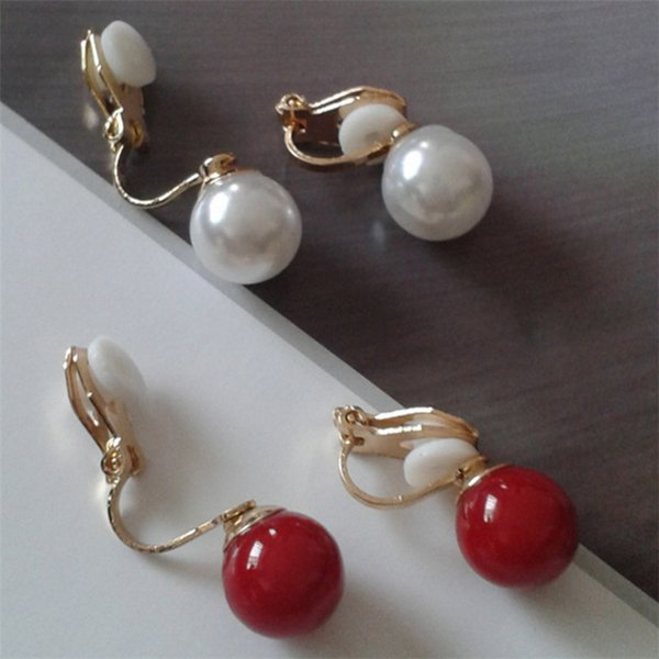 best selling XS Large Red & White Imitation Pearl No Ear Pierced Clip Earrings Simple Fashionable For Women Earring Accessories TJ030