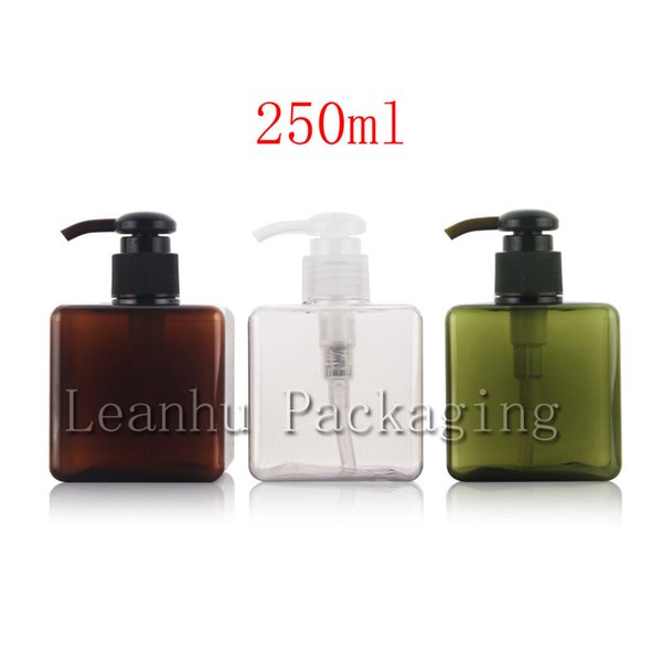250ml X 10 empty square cream lotion pump plastic bottles for personal care packaging,8.5oz shower gel pump bottles container
