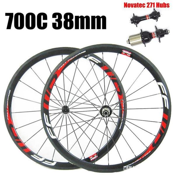 Venta al por mayor FFWD 700C 38 mm Profundidad 23 mm Ancho Carbono Ruedas de bicicleta 3K UD Brillante Blanco mate Calcomanías rojos con Novatec 271 Hubs
