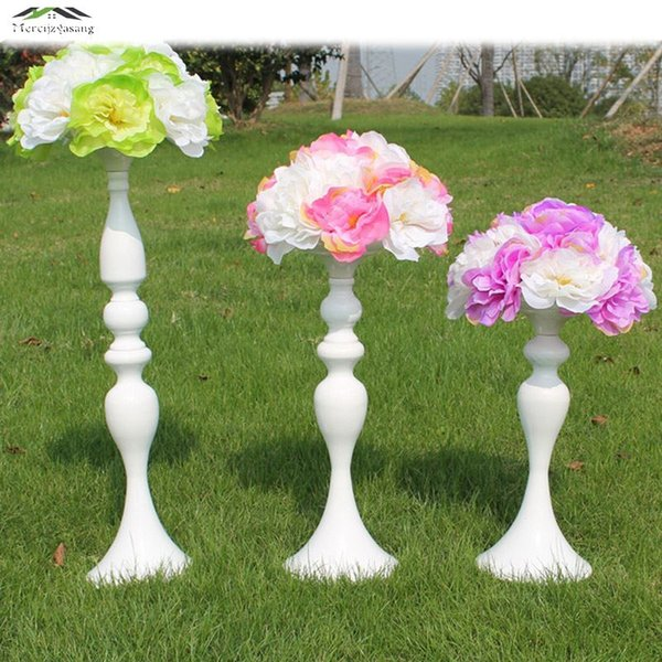 12PCS/lot White Metal Candle Holders 50CM/20'' Stand Flowers Vase Candlestick Road Lead Candelabra Center Pieces Wedding Deco WD 45