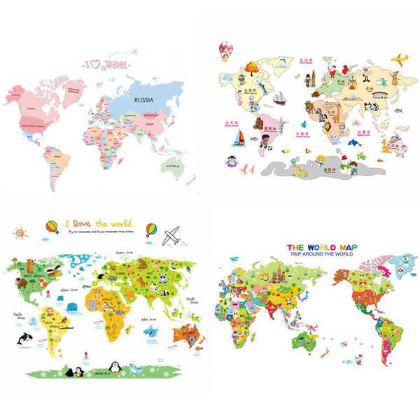 2017 New Arrival Colorful Letter World Map Wall Stickers Removable Art Decals Living Room Office Decoration Kids Room Home Decor 5 styles