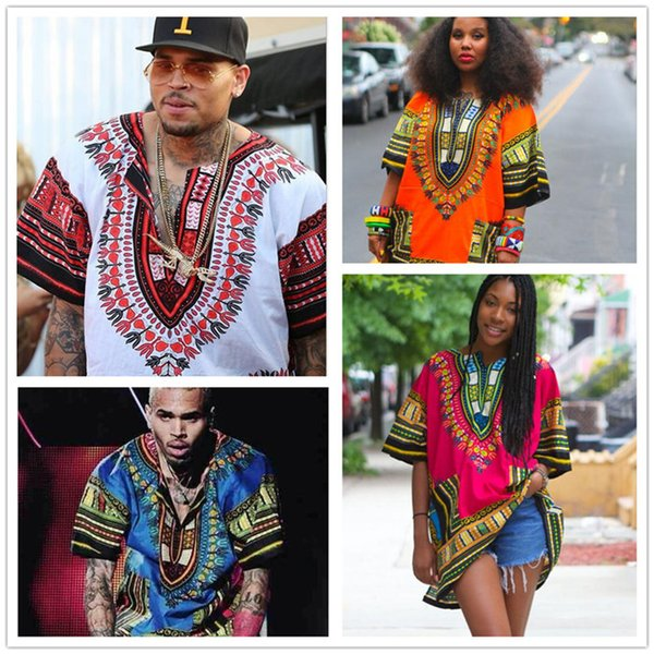 top popular African Dashiki Dresses For Women Men Clothes Hippie Shirt Caftan Vintage Unisex Tribal Mexican Top Bazin Riche Ethnic Clothing M055 2019