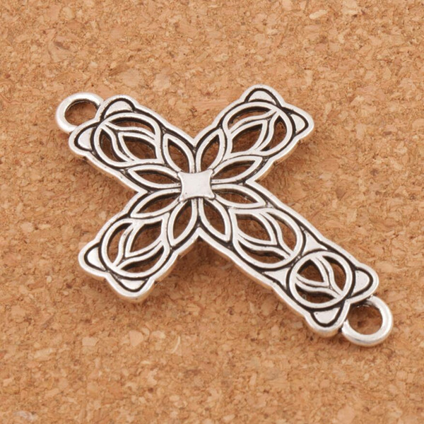 Open Flower Cross 2-Hole Connector 80pcs/lot Tibetan Silver Fit Infinity Leather Bracelets Jewelry DIY L1209 27.5x42mm