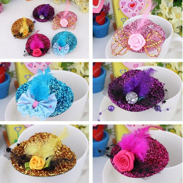 Free Ship 24pcs 8CM Felt Mini Top Hat Feather Hat Cap Hair Clip Hen Party Lady Veil Popular Wedding homburg millinery Bridal Accessories