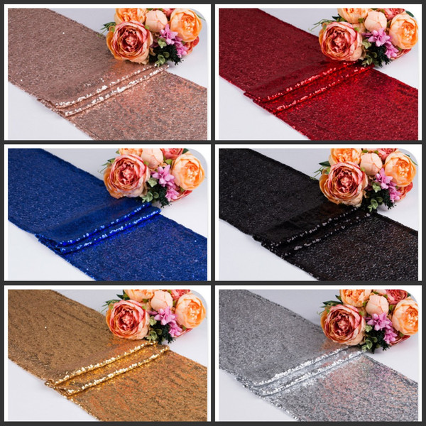 top popular 30*275cm Fabric Table Runner Gold Silver Sequin Table Cloth Sparkly Bling for Wedding Party Decoration Products Supplies 2019