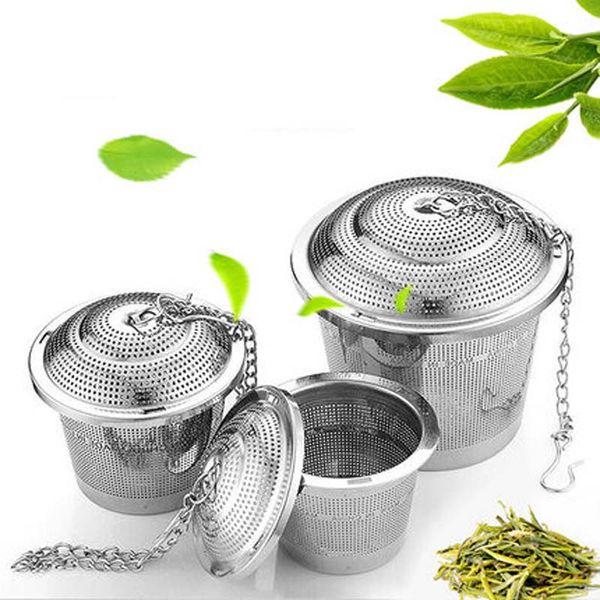 top popular Durable 3 Sizes Silver Reusable 304 Stainless Mesh Herbal Ball Tea Strainer Teakettle Locking Tea Filter Infuser LZ187 2019