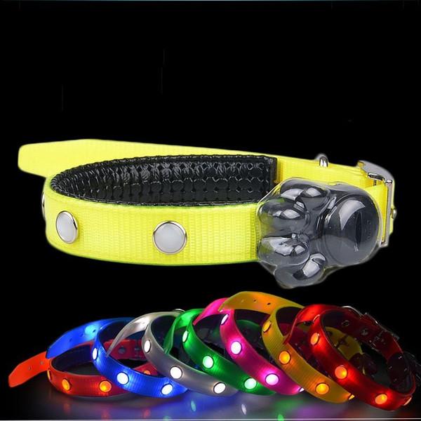 Adjustable TPU Pet Leashes Gem LED Light Up Dog Collar Stainless steel D Ring Puppy Necklet Durable 19 5gr B