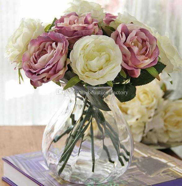 10 unids Artificial Seda Rosa Flor Fake Leaf Home Party Garden Wedding Wedding Decor Pink / White / Green / Purple