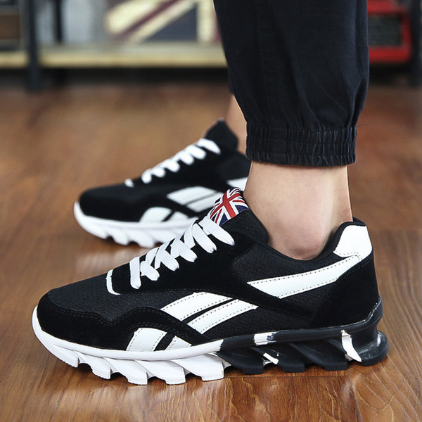 2017 new British style Men Shoes Luxury Brand GenuineMen's Fashion Air Cushion Casual Shoes Men Lace-up Spring Autumn Walking Jogging shoes