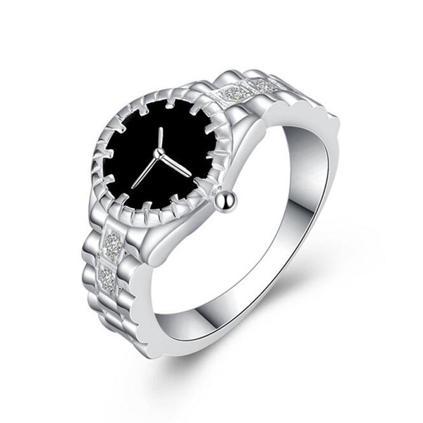 Silver Watch style Rings Hot Sale Crystal Finger Rings For Women Girl Party Fashion Jewelry Wholesale Free Shipping 0454WH