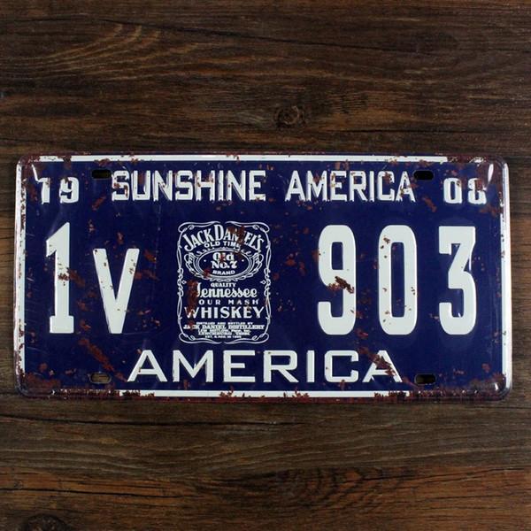 15x30 cm SUNSHINE AMERICA 1V 903 JACK DANIEL vintage license plates iron painting wall sticker number plate metal craft