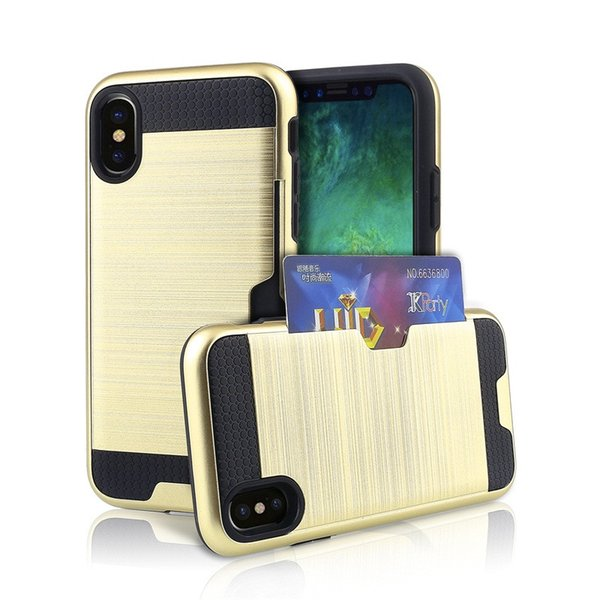 Hybrid Armor case for iphone X 8 6 6S 7 Plus / Samsung Galaxy Note8 S8 Plus with ID Credit Card Slot Holder Shockproof Protective Cover