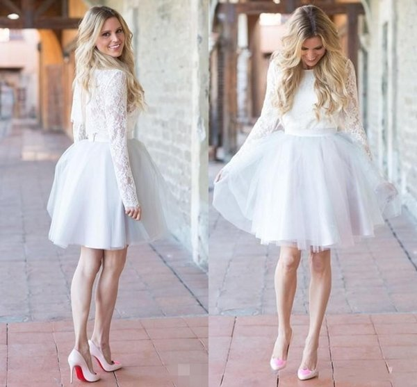 White lace long sleeve knee length dress