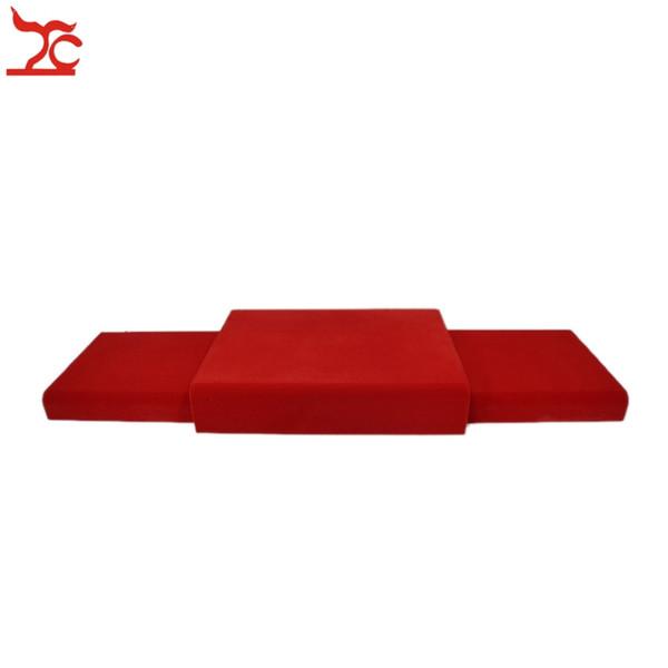 Spedizione gratuita Red Velvet Bottom Board Set Portable Display gioielli in legno Plateform per anello pendente orecchino Neckklace Braccialetto a catena