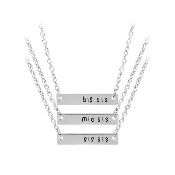 Sisters Necklace Set Simple Bar Stick Letter Engraved Big Middle Little Sis Family Jewelry Best Friends Forever BFF Colar