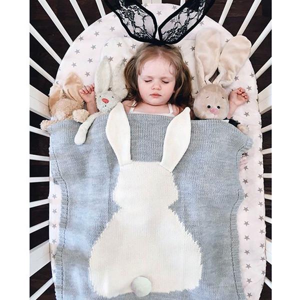 top popular Crochet Knitted Ins Rabbit Swaddle Blanket Newborn Baby Bath Towel Ins 3D Animal Swaddle Blankets Functions Baby Blanket 2019