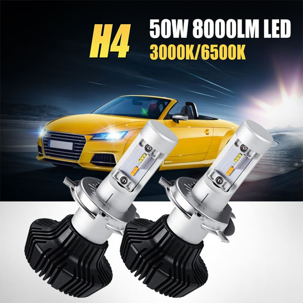 50w h4 hi-lo beam led car headlight bulb yellow light 3000k white light 6500k 8000lm csp chips led headlamp fog light