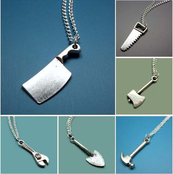 Fashion Men's Womens Mini Tools Wrench Axe Hammer Scissor Saw Pendant Charms Chain Necklace Jewelry