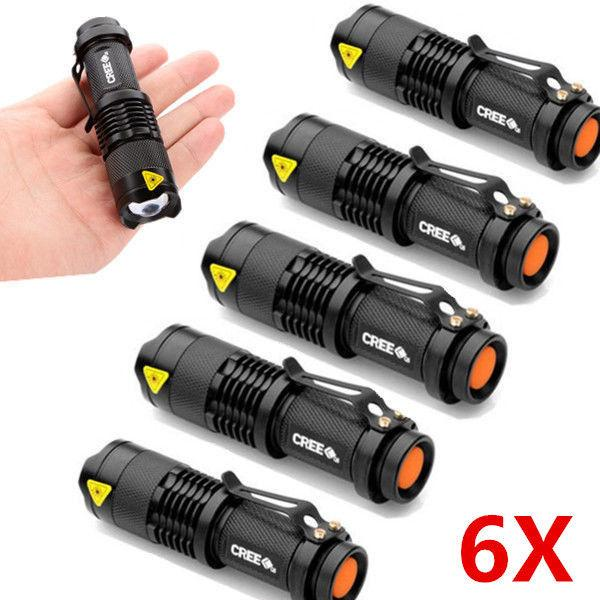 6 Pçs / lote Mini LED Tocha 7 W 2000LM CREE Q5 LEVOU Lanterna Foco Ajustável Zoom Flash Light Lamp Lanterna gota transporte