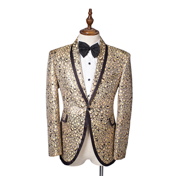 Wholesale- Hot Sale 2016 Long Sleeves Serpentine Stage Performance Prom Costumes Slim Tailor Chinese Tunic Suit Wedding Costumes