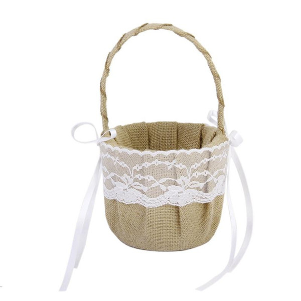 Retro Jute Burlap Lace Flower Girl Basket For Wedding Decoration Storage Hanging Basket Wedding Supplies