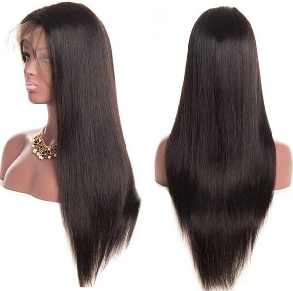 Lace Front Wig 26 inch Long Hair Wig Natural Color Unprocessed Human Hair Silky Straight Virgin European Hair Full Lace Wig Free Shipping