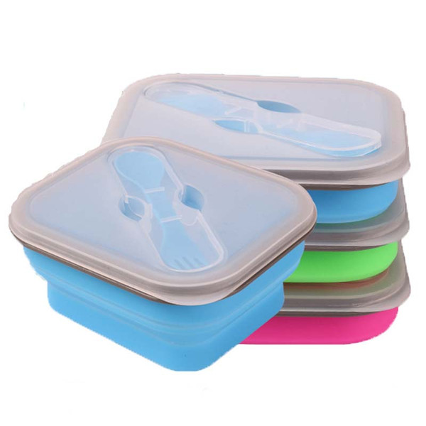Portable lunch boxs Silicon Collapsible microwave Lunchbox bento lunch boxs folding lunchbox set food container free shipping