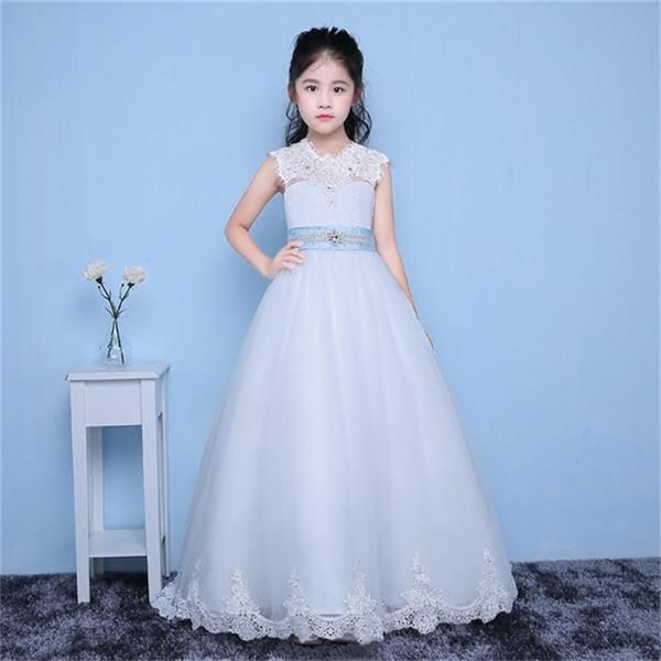 Neue Ankunft Blumenmädchenkleider mit Zug Kleine Mädchen Kinder / Kind Kleid A-Line Kommunion Party Pageant Dress