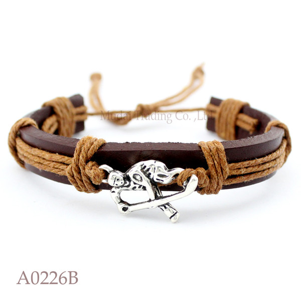 ANTIQUE SILVER HOCKEY PLAYER CHARM Adjustable Leather Cuff Bracelets for Men & Women Punk Friendship Casual Jewelry