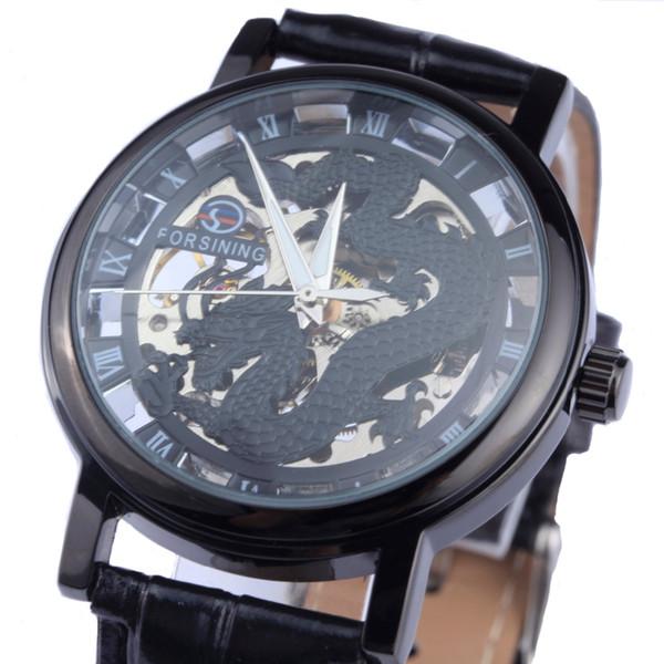 Al por mayor-Forsining Dragon Men Mechanical Watch negro oro caja de cuero banda hueca relojes esqueleto top brand luxury relogio masculino
