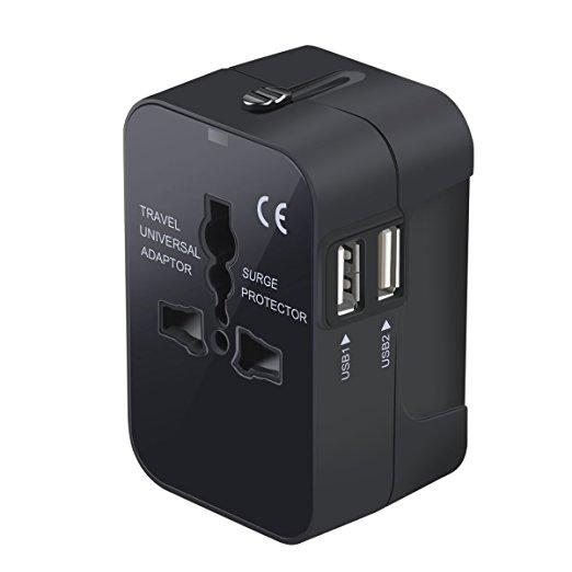 Travel Adapter, Worldwide All in One Universal Travel Adaptor Wall AC Power Plug Adapter Wall Charger with Dual USB Charging Ports