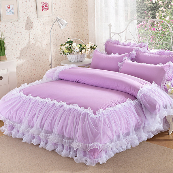 Korean Purple Lace bedding set bedspread 4Pcs romantic princess bedclothes bed set cotton duvet covers bed skirt pillowcases queen king