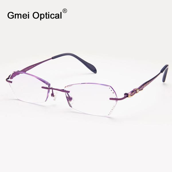 Gros- Gmei Optical Q6602 sans monture diamant coupe cadre de lunettes pour les femmes lunettes de lunettes
