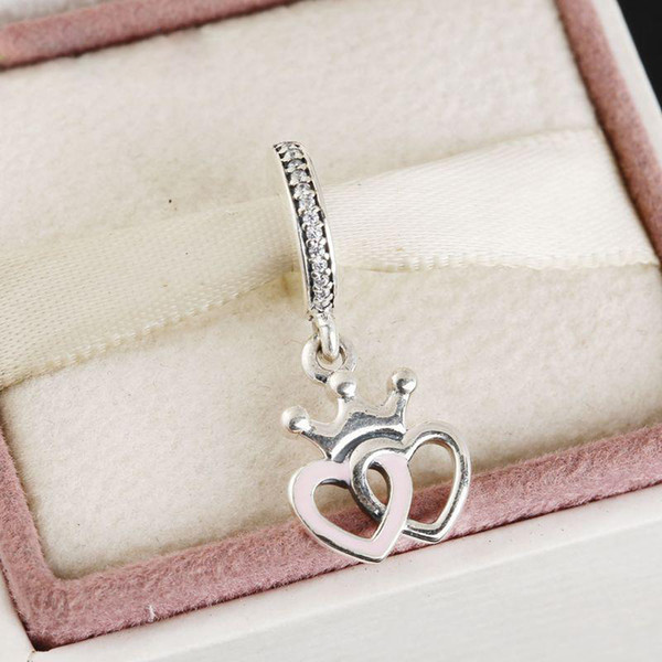 Double Heart Valentine's Day pendant beads charm 100% 925 Sterling-Silver-Jewelry Clear Symbols Bead DIY Bracelets Bangles Accessories