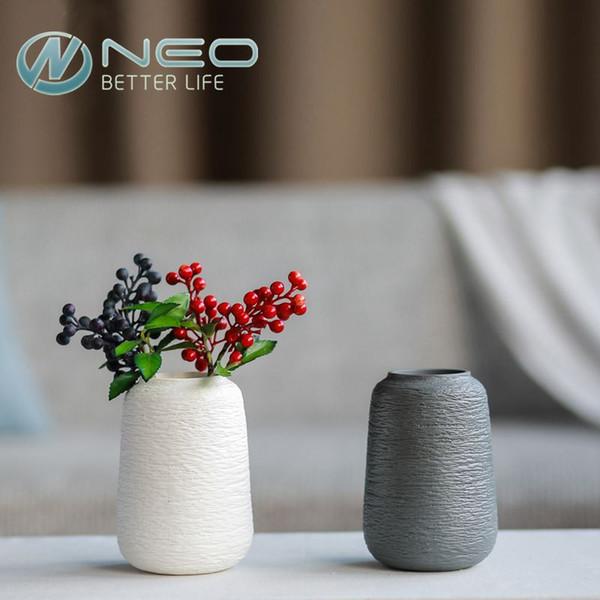 Florero de cerámica artificial de cerámica Moderno florero de porcelana secada Blanco y gris surtidoModern Home Wedding Gift Decor Jarrón