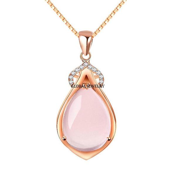 Fábrica de prata personalizado atacado moda rosa de Cristal De Quartzo Pingente de Prata Esterlina acessórios mercado de jóias por atacado