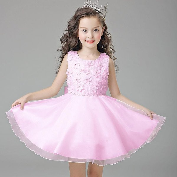 Free Shipping Ball Gown Short / Mini Sleeveless Boat Neck Ivory Pink Flower Girl Dresses for wedding with Petals BLB/5823-1