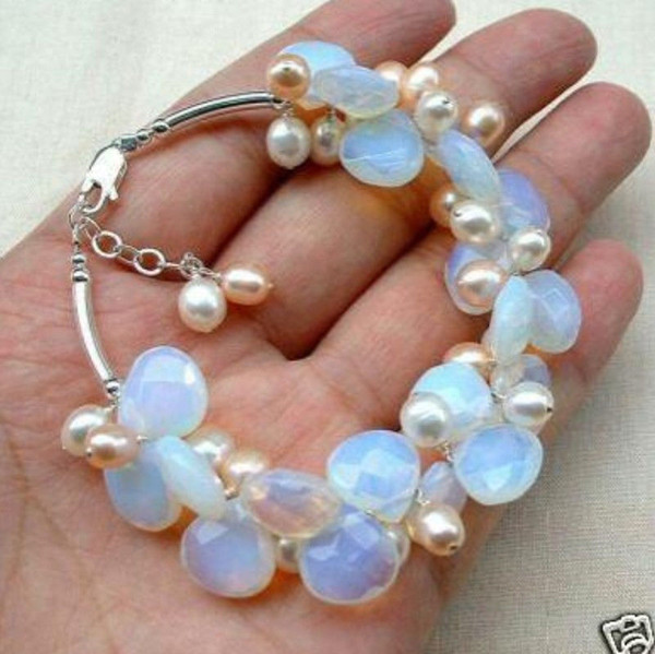 Blue Fire Opal and Fresh Water Pearl Cluster Bracele