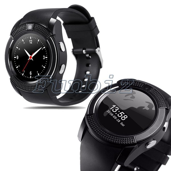 V8 Smart Watch On Wrist Bluetooth Wrist Watches For Android Samsung Huawei cell phones English Sim TF Camera Sleep Tracker Adult smartwtch