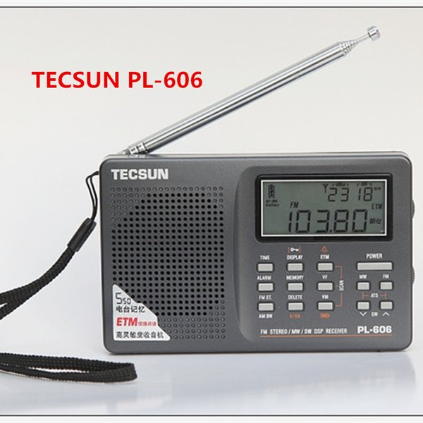 Wholesale-Original Tecsun PL-606 FM radio Stereo Portable Radio long short wave LW/MW/SW DSP digital full-band receiver tecsun pl606 radio