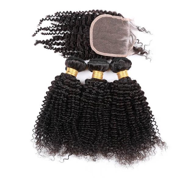PREFER STYLE 100G DEEP KINKY CURLY Human hair bundle lace closure weaves closure blonde lace closure with bundles brazilian virgin hair