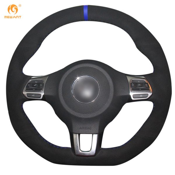 Mewant Black Suede Car Steering Wheel Cover for Volkswagen Golf 6 GTI MK6 VW Scirocco R Polo GTI