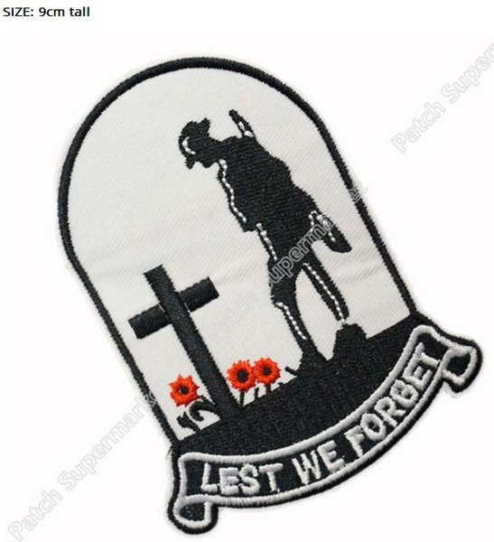"3.5"" Cross Souvenir Lest We Forget Patches Officer Uniform Movie tv Embroidered LOGO Iron On Patch/badge Custom patch"