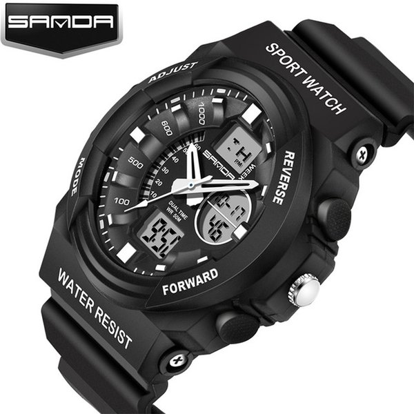 Rubber Strap Watch Men's Waterproof Outdoor Climbing Military Watch LED Dual Display Pointer Cheap Sports Watch Wholesale Good Gift For Men