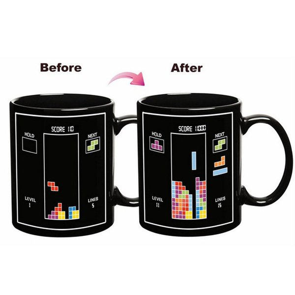 Tetris Color Change Cup Magic Ceramic Mug Cartoon Building Blocks Mugs Kids Birthday Present For Home High Quality 8yr