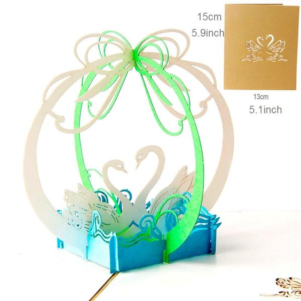 Acheter Cygnes Cartes De Voeux Fête Danniversaire Carte Cadeau Anniversaire Cartes De Félicitations De Mariage 3d Pop Up Cartes Carte De Voeux