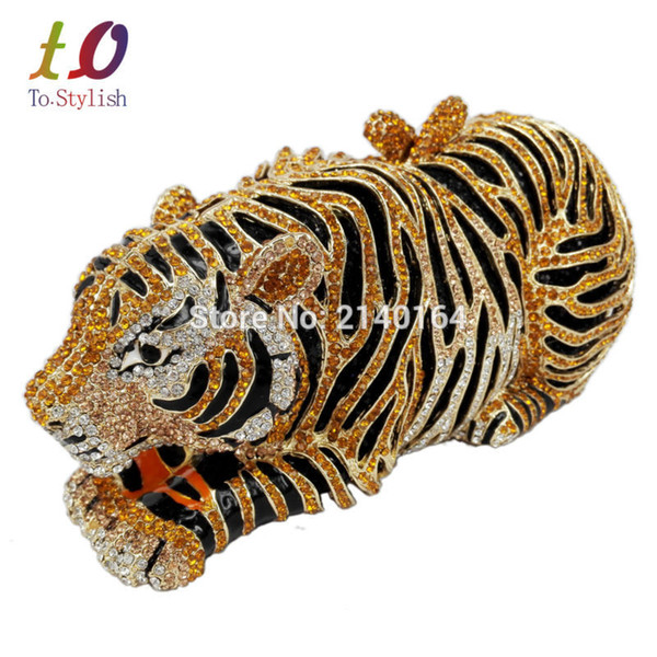 Wholesale- Stylish Animal Tiger Diamond Evening Bag Gold Luxury Diamante Crystal Clutch bag Wedding elegant bride Party banquet Purse 88166